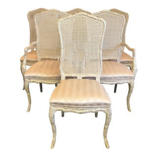 Late 20th Century Shaped Faux Bamboo and Cane Dining Chairs- Set of 6 For Sale