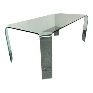 Pace Collection Glass Waterfall Dining Table For Sale