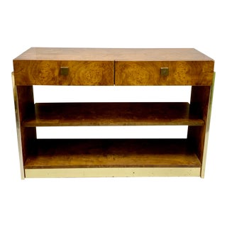 Founders Modern Burlwood and Brass Server / Credenza / Table For Sale