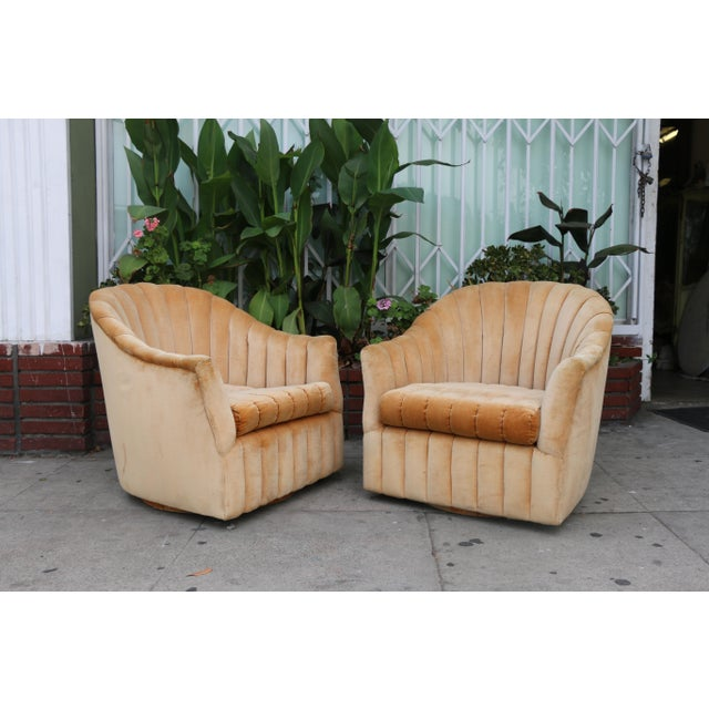 Velvet Swivel Chairs - A Pair For Sale - Image 4 of 11