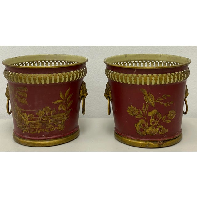Pair of Signed French Tole Chinoiserie Cachepots / Planters For Sale In Atlanta - Image 6 of 8