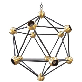 Black & Brass Large Pendant Light For Sale