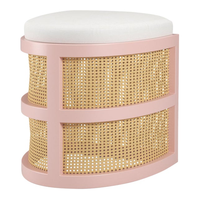 Isabella Demi Stool - Coral Dust, Optic White Linen For Sale