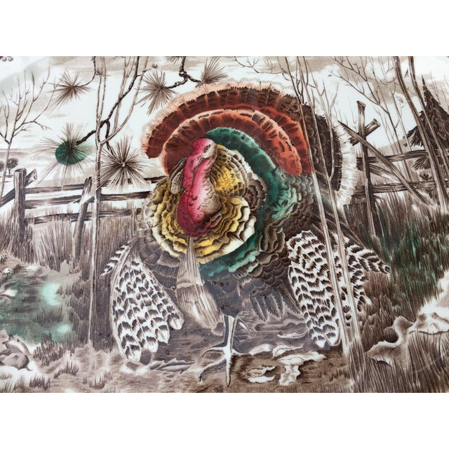 Traditional English Transferware Turkey Platter For Sale - Image 3 of 11