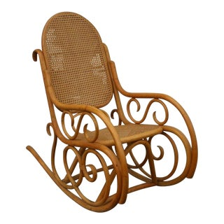 1970s Vintage Bentwood Rocker With Cane Back Thonet Style For Sale