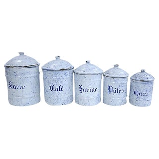 French Enamel Canisters - Set of 5