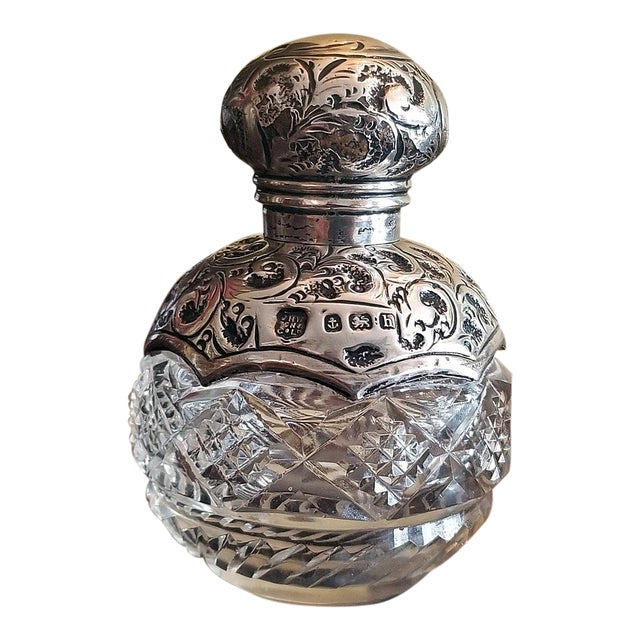 20c Sterling Silver and Crystal Perfume Bottle Birmingham 1907 For Sale