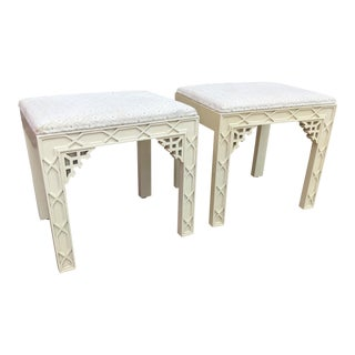 1970s Chinoiserie Ivory Fretwork Ottomans - a Pair For Sale