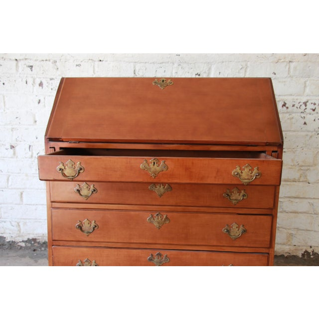 Gold 18th Century Early American Chippendale Cherry Wood Drop-Front Secretary Desk For Sale - Image 8 of 13