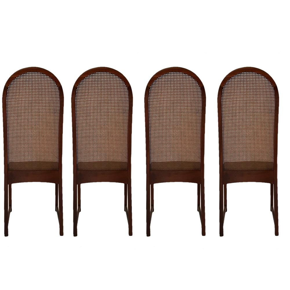 Set Of Six Milo Baughman High Back Cane And Walnut Dining Chairs For  Directional   Image
