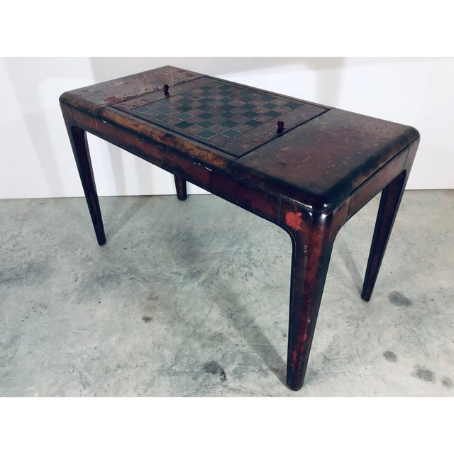 Maitland - Smith Mid-Century Modern Maitland Smith Distressed Leather Game Table For Sale - Image 4 of 13