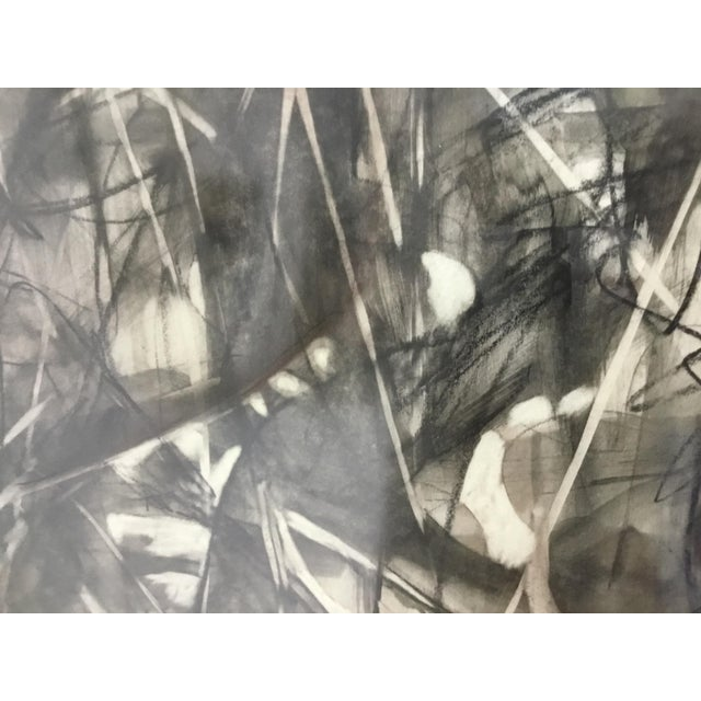 Large Format Framed Abstract Ink and Charcoal Drawing For Sale - Image 11 of 13