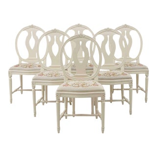 Single Swedish Rose Bud Chairs - Set of 6 For Sale