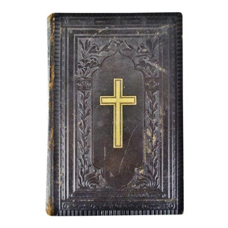 Antique Victorian Leather Bound German Bible For Sale