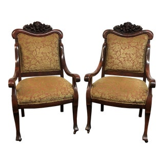 Vintage Carved Accent Chairs, a Pair For Sale