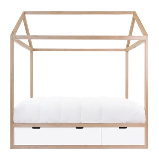 Domo Zen Twin Canopy Bed in Maple With White Finish Drawers