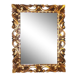 Italian Style Rococo Carved Gilt Wood Mirror For Sale