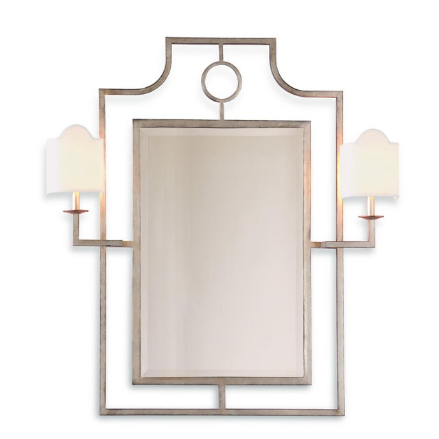 Port 68 Classic Italian linen half shade sconces are featured on our Doheny hall mirror. Hand finished gold leaf is...