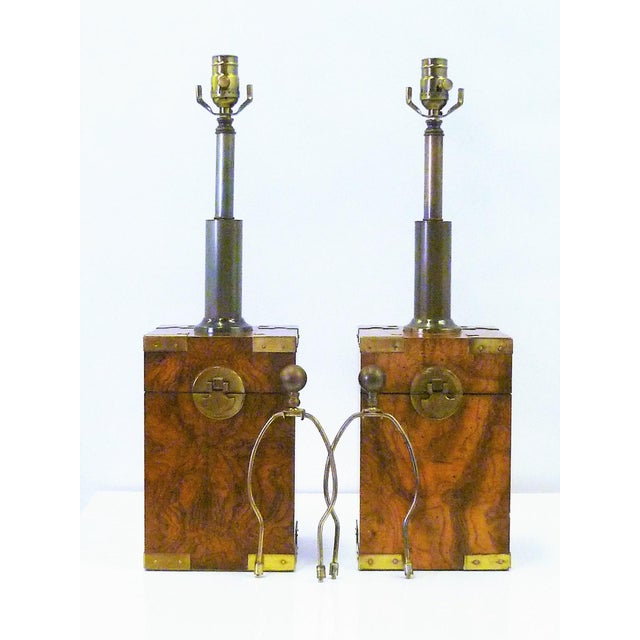 1970s Campaign Style Burl Wood Faux Tea Box Table Lamps - a Pair For Sale - Image 12 of 13
