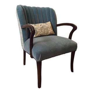 Vintage Channel Back Mohair Side Chair For Sale