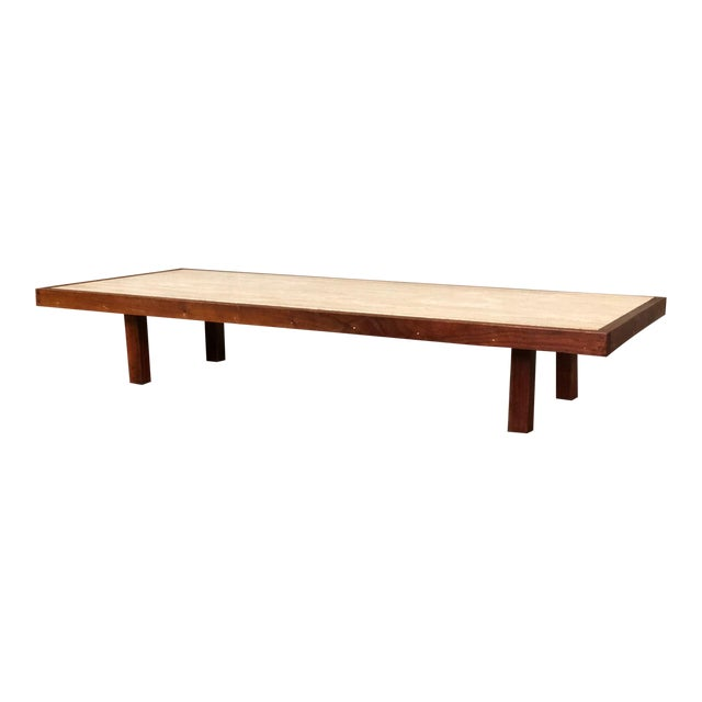 Mid-Century Modern Low Profile Custom Coffee Table With Travertine Top For Sale