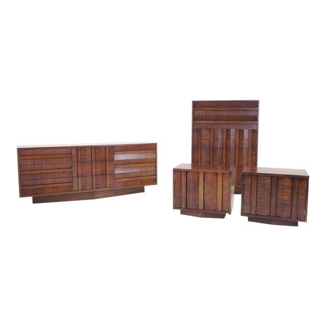 Lane Sculptural/Brutalist Nine-Drawer Walnut Dresser For Sale