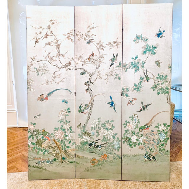Silver Leaf Chinoiserie Room Divider For Sale In New York - Image 6 of 6