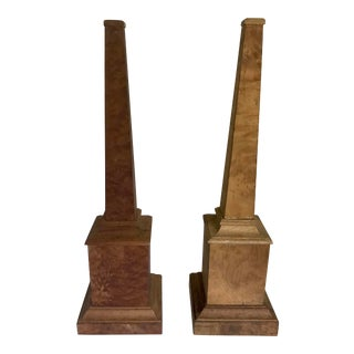 Pair of Myrtle Burl Wood Obelisks