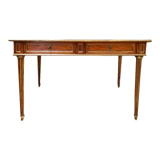 Small Louis XVI Style Writing Desk With Brass Trim and Leather Top For Sale