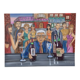 French Bar Scene Painitng For Sale