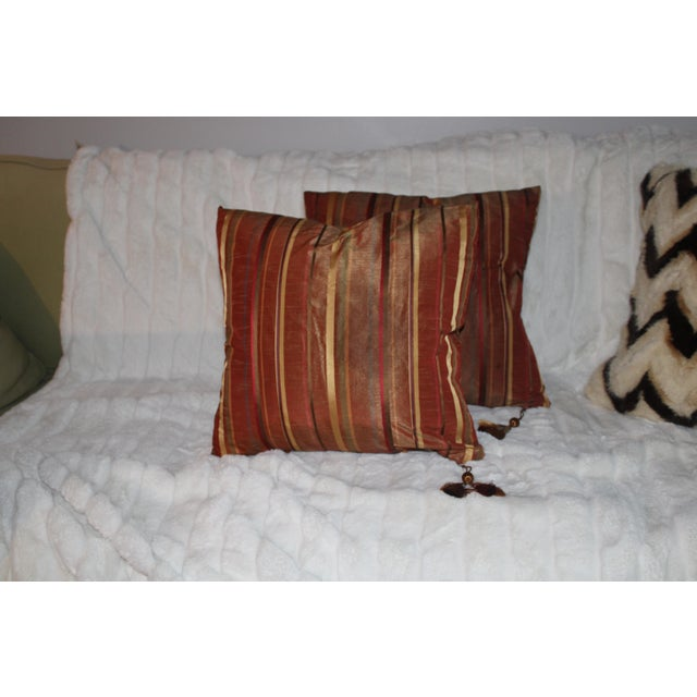 2010s Boho Chic Golden/Copper Taffeta Pillows - a Pair For Sale - Image 5 of 5