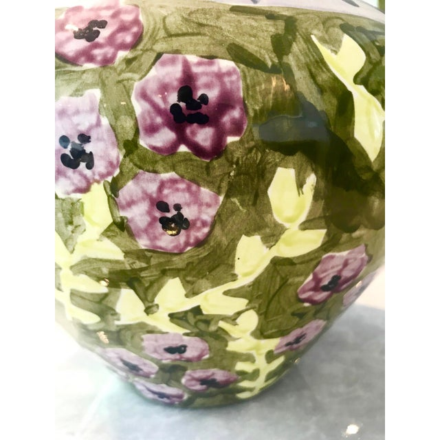 Ceramic Impressionist Hand Painted Ceramic Urn Vase, Italy 1980's For Sale - Image 7 of 13