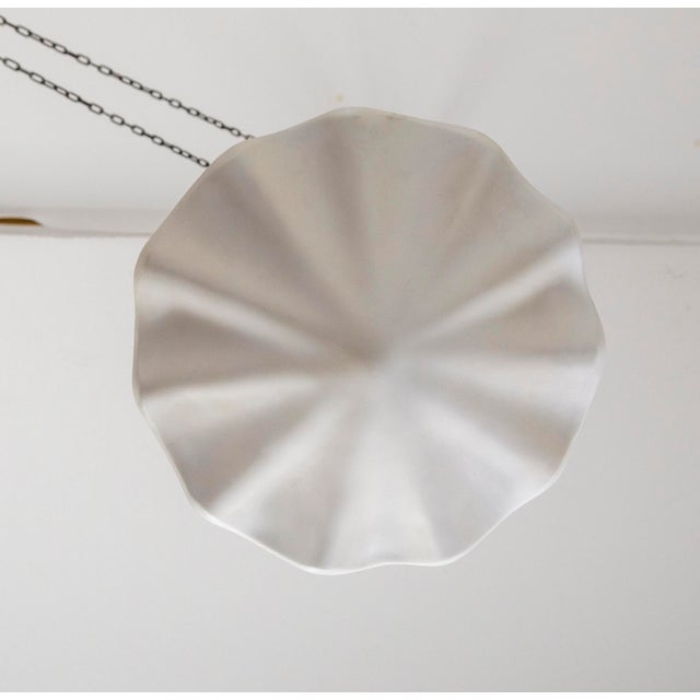 """17"""" Circular Undulating Smooth Plaster Shell Pendant For Sale - Image 4 of 7"""