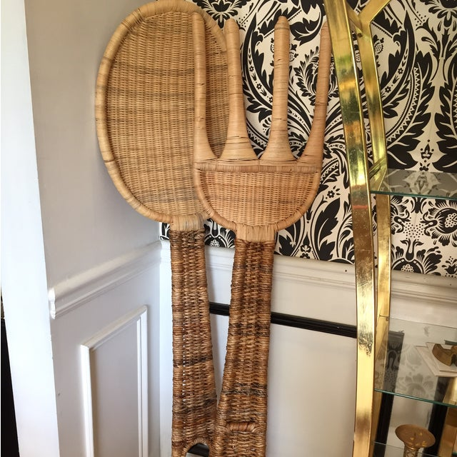 Kitchen Wall Decor Fork And Spoon: Jumbo Size Rattan Fork & Spoon Kitchen Wall Decor