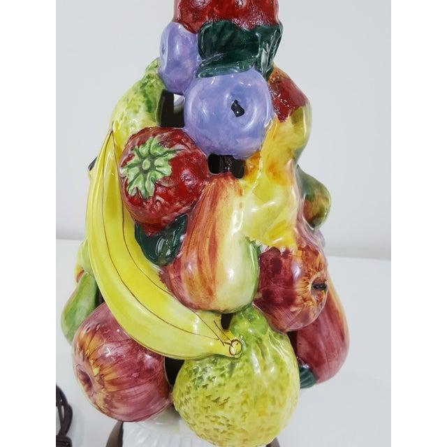 Italian Mid-Century Ceramic Fruit Basket Lamp For Sale - Image 6 of 12