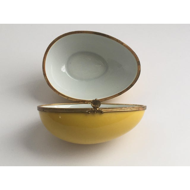 Metal 1970s Chamart Co Exclusive Limoges, France Porcelain Trinket Box, Yellow Egg For Sale - Image 7 of 13