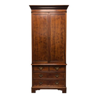Vintage Chippendale Yew Wood Armoire Secretary Linen Press - 1 For Sale