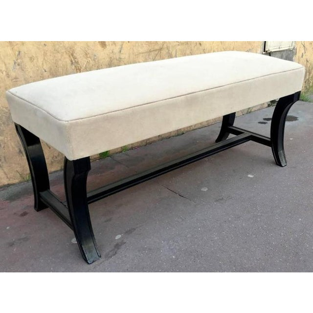 1950s Maison Jansen Chicest Black Neoclassic Long Bench Newly Covered in Velvet For Sale - Image 5 of 5