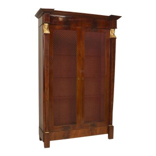 A Beautiful French Empire Bibliotheque Cabinet With Grill Doors For Sale