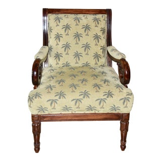 Best Chairs Inc. Fabric Palm Tree Armchair For Sale