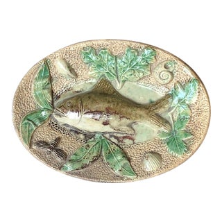 19th Century Vintage Majolica Fish Wall Platter Initialed Tm For Sale