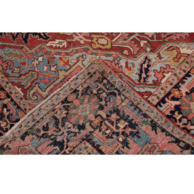 Persian Early 20th Century Antique Persian Heriz Wool Rug For Sale - Image 3 of 13