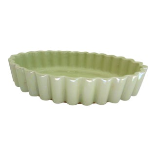 Iridescent Green Pottery Bowl For Sale