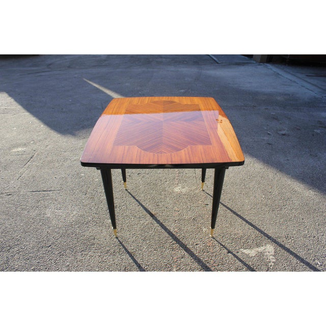 Brass 1940s Art Deco Exotic Macassar Ebony Game Table For Sale - Image 7 of 13