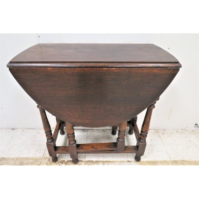Brown English Drop Leaf Gate Leg Tiger Oak Apartment Table For Sale - Image 8 of 10