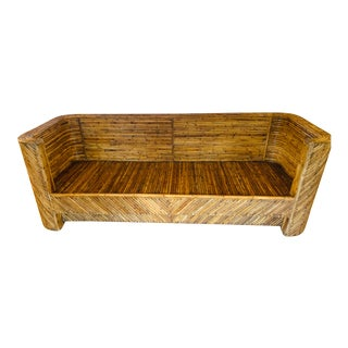 Vintage Bamboo Sofa in the Manner of Gabriella Crespi For Sale