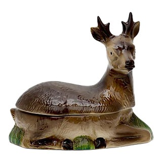 Vintage French Majolica Deer Patè Tureen
