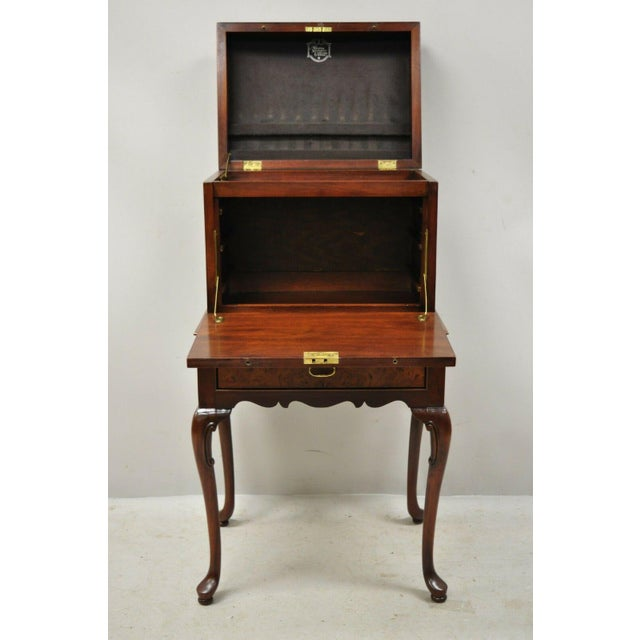 Hickory Chair Co. Mahogany & Burlwood Queen Anne Silverware Silver Chest For Sale - Image 12 of 13