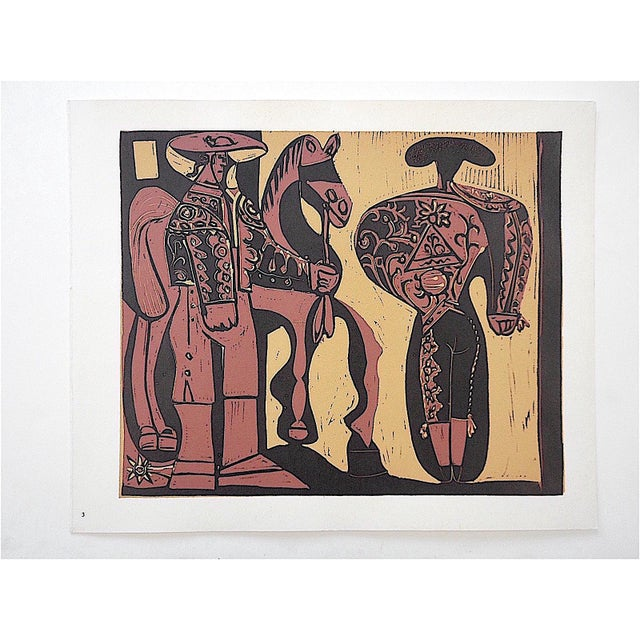 """This is an original 1962 lithograph (not offset) titled """"Picador et Torero"""" of the original linocut by Pablo Picasso,..."""