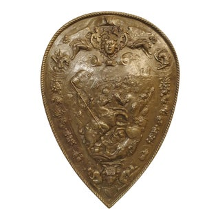 Early 1900s Cast Iron Parade Shield From France For Sale